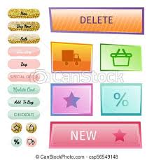 Web Elements Shop Buttons Buy Element Cart Business Banner Symbol Navigation Menu Online Chart Discount Market Retail Store Vector