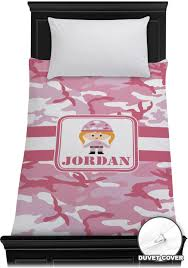 pink camo duvet cover personalized