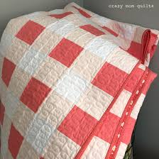 crazy mom quilts & The quilt uses only 5 fabrics: White, Pink Flamingo and Pearl pink (all  Konas) for the top. The binding (lotta dots in coral reef) and backing  (apron in ... Adamdwight.com