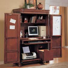 appealing unique brown hide away computer desk with office armoire and charming monitor