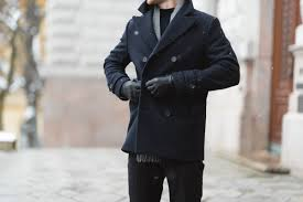 navy blue peacoat easy winter outfit