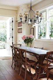 Country cottage dining room Furniture Cottage Dining Room With Crown Molding Chandelier Wrought Iron Chandelier With Shades Custom Builtin Bench Seating Paint Beautiful Home Pinterest Cottage Dining Room With Crown Molding Chandelier Wrought Iron
