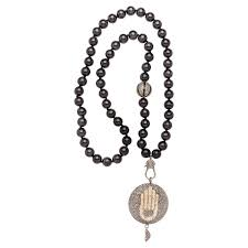 clarissa bronfman onyx diamond and silver hamsa hand pendant beaded necklace for