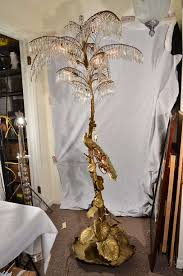 exquisite cast bronze floor lamp french hollywood regency style palm tree with a peacock