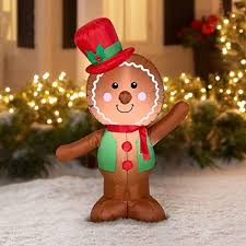 Holiday Time Christmas <b>Inflatable</b> LED <b>Gingerbread Man Airblown</b> ...
