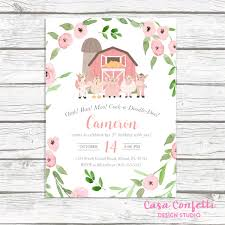 Farm Birthday Invitation Girl Farm Birthday Party Invitation Pink