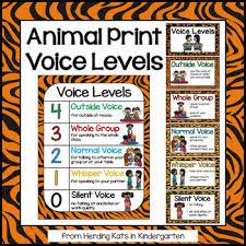 Animal Print Classroom Decor Voice Levels Chart