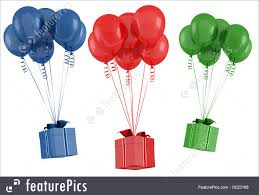 holidays red blue and green gift box with balloon isolated on white