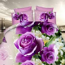 4pcs suit polyester fiber 3d purple rose reactive dyeing twill bedding sets queen king size aaz ping