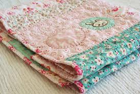 nanaCompany & embroidered baby quilt for a girl, handmade by nanaCompany, B086p Adamdwight.com