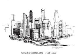 architecture sketch wallpaper. Vector Panoramic Singapore City Sketch. Skyline Silhouette Of The City. Hand Draw With Architecture Sketch Wallpaper