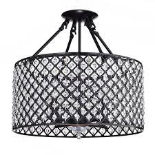 marya 4 light oil rubbed bronze round drum semi flush mount crystal chandelier