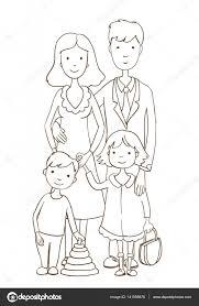 Cute Cartoon Op Wit En Gelukkige Familie Kleurplaat Pagina