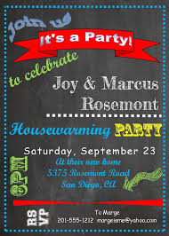 Colorful Chalkboard Housewarming Party Invitations
