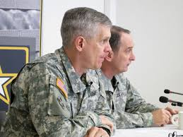 campbell and command sgt maj david s davenport sr senior enlisted adviser answer questions from german media during the commander s media roundtable
