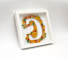 unique framed quilling art monogram letter c alphabet 3d wall art with regard to most recently on framed monogram letter wall art with explore gallery of 3d wall art etsy showing 10 of 15 photos