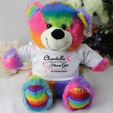 Personalised Flower Girl Rainbow Bear 35 Free Shipping
