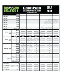 Beast Workout Sheet | Nfcnbarroom.com