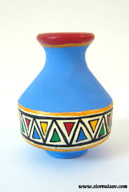 Small Picture Vase Pottery Terracotta Home Decor Indian Handicraft Blue