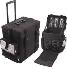 amazon soft sided nylon professional rolling makeup case with drawers bags all black beauty