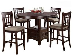 rosy brown 5 piece counter height dining set round table leaf cushion chair