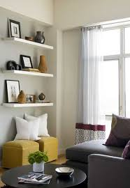 living room with floating shelves 18