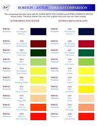 Robison Anton Color Chart Robison Anton Thread Conversion