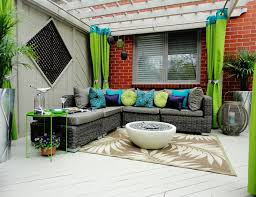 lime green table patio contemporary with red brick siding geometric area rugs