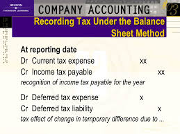income tax payable balance sheet chapter 12 income tax ppt download