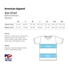 American Shirt Size Chart American Apparel Size Charts Hypercandy