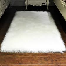luxury rectangle soft sheepskin fluffy area rug faux white fur carpet gy long hair solid mat living room seat pad home decor kashan rugs carpet one