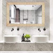 Amazon Com Hans Alice Large Rectangular Bathroom Mirror Wall Mounted Wooden Frame Vanity Mirror 38 X26 Corn Gold Furniture Decor