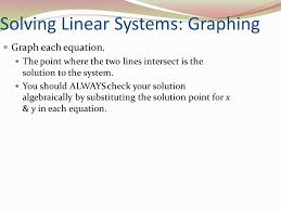 4 solving linear systems graphing graph each equation