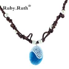 moana ocean romance rope chain necklaces blue stone necklaces pendants necklace for women jewelry