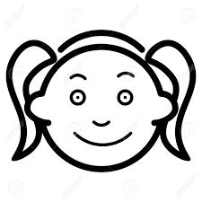 女の子のベクター アイコン黒と白の面白い少女顔のイラスト子供の概要の線形アイコン