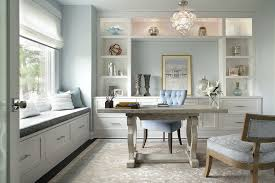 home office built ins. modern booth seating home office transitional with silver hardware light blue walls built ins