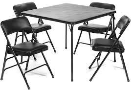 5pc XL Series Folding Card Table and Vinyl Padded Chair Set, Black - FoldingChairsandTables.com