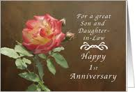 year specific wedding anniversary cards for son & daughter in law Wedding Card Verses For Son And Daughter In Law happy 1st anniversary for son and daughter in law, roses card wedding card messages for son and daughter in law