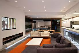 Living Room With A Bar Living Room Wall Bar Ideas White Shades Brown Tile Floor Orange