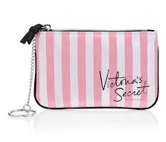 victoria s secret pink stripe mini bag cute travel wallet purse makeup