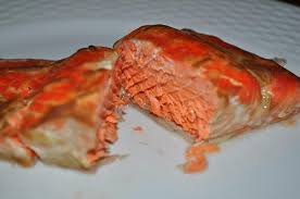 cooked salmon inside. Beautiful Cooked And Cooked Salmon Inside