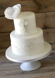 White Lace Christening Cake With Wafer Paper Flower Wedding Cakes