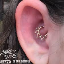 daith piercing with solid yellow gold from buddha jewelry organics
