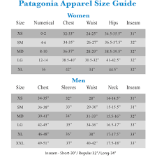 Patagonia Size Chart Women S