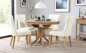 hudson round extending dining table amp 6 chairs set bewley ivory only