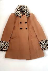 miss selfridge camel coat size 6 with leopard print faux fur collar cuffs