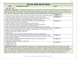 Restaurant Hostess Seating Chart Server Side Work Chart How To Motivate Employees Employee