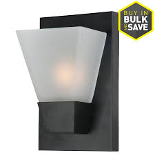 sconce lighting lowes. portfolio 5.52-in w 1-light matte black pocket wall sconce lighting lowes o