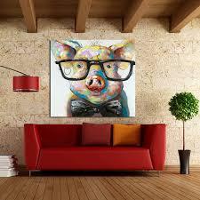 Large <b>Canvas Art</b> Cheap <b>100</b>% <b>Hand painted</b> Abstract Lovely Pig ...