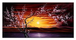 modern canvas art. Wieco Art Plum Tree Blossom Flower Canvas Modern